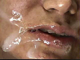 Full mouth of cum and saliva after forced blowjob
