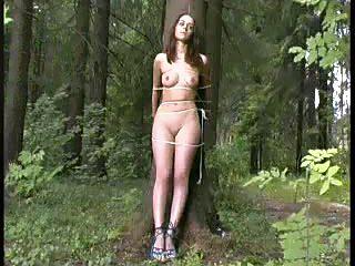 Rapist tied raped beauty woman to tree