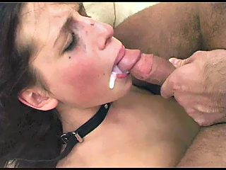 Sperm in corner of mouth after forced sucking