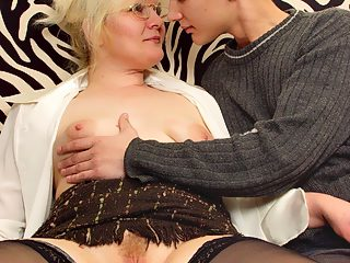 Tempting blonde momma gets her hole pounded by the son
