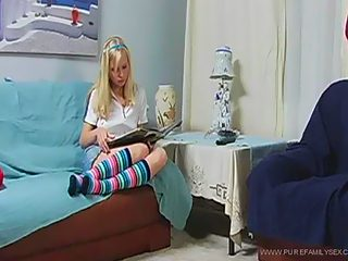 Dreamboat teeny in striped gaiters gets her pussy filled with her dad's rod