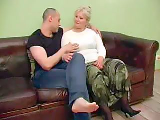 Chubby old slut addicted to doggy style sex takes her muscled son's shlong