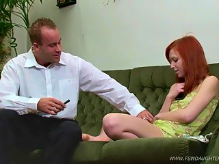 Dreamboat teen redhead lets her father slide into her carefully shaven pink