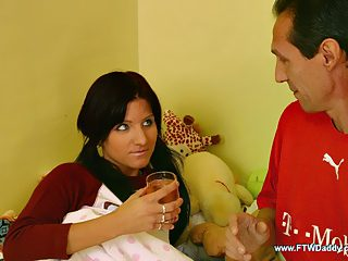 Charming dark haired kitty gets roughly banged by her horny aged papa
