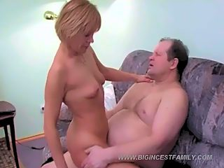 Adorable blonde kitty with shortish hair enjoys hard sex with her fat daddy