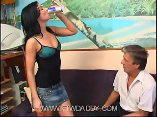 Fresh swarthy brunette lets her father's cock slide into her little asshole