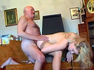 Teen in stockings strips for her grandpa and takes his wrinkled old shlong