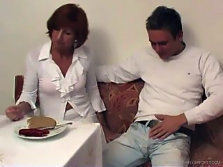 Incest loving old slut gets a portion of young meat stuffed into her clam