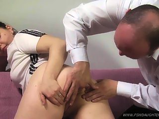 Girl asks her papa to show her how to use an enema   and gets ass fucked