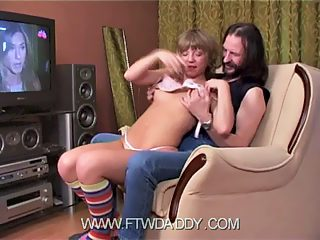 Blonde girl in tights gets her pink pounded by father