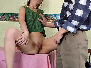 Shy daughter takes off lacy panties to ride the schlong of father
