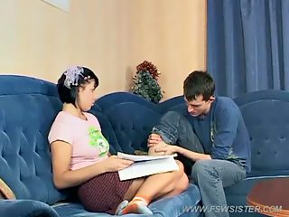 Sly guy helps his sis do the homework and probes her little pussy in return