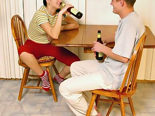 Tipsy young brunette filled with hot meat of her smart brother