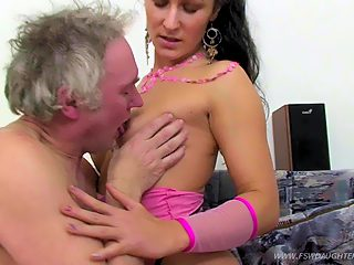 Perverted grey haired papa enjoys the fresh wet pussy of his sexy daughter