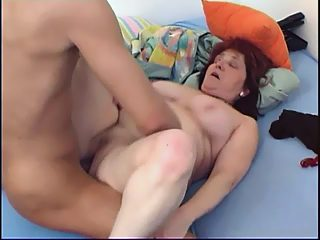 Sex hungry hunk enjoys wild sex with his own plump red haired grandmother