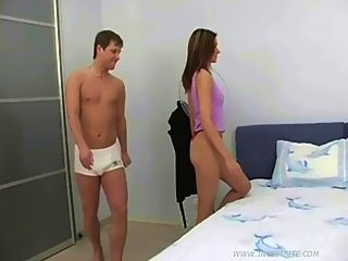 Teen candy with perfect slim body gets the best of her papa's throbbing rod