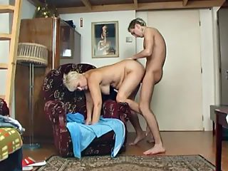 Plump granny with dyed hair lets her grandson enjoy her wet old fuck hole