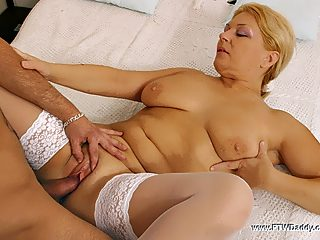 Full blonde milf lets her son shove it up her old squelching love purse