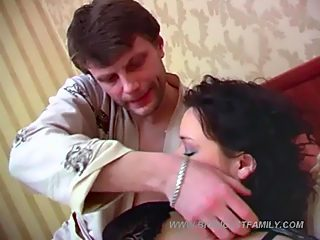 Ripe mommy with massive natural jugs gets a hardcore double incest fucking