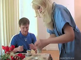 Blonde oldie gets it on with her sonny and his inexperienced teenage girlie