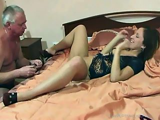 Hot young starlet gives in to her gray haired papa and gets it on with him