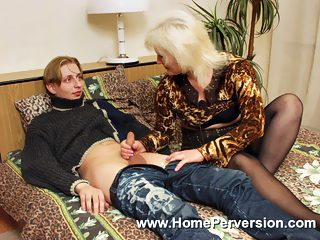 Blonde oldie got her wet pussy stuffed by her sons pecker