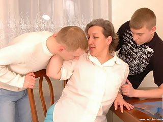Mature mom enjoying her sons and his friends hard cocks