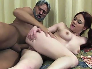 Swarthy old guy steals his cute vanilla skinned daughter's anal virginity