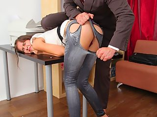 Horny guy rips off sexy babe pants and anal fucks her on desk