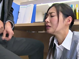 Forced oral creampie at office