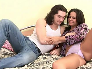 Adorable dark haired teen puss saddles her hunky brother and rides his rod