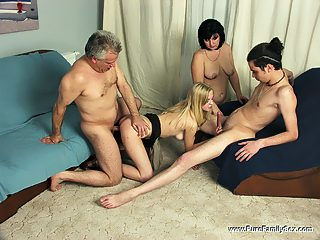 The celebration of daddys birthday turns into a foursome family orgy