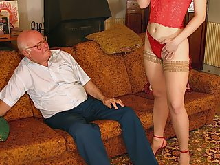 Cock hungry blonde puss jumps onto her grandpa's old fat meat
