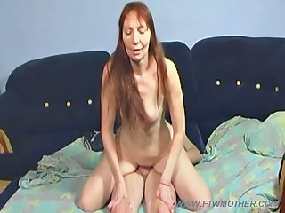 Full red haired mother gets a good hard pussy workout from her hunky son