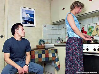 Mature housewife gets fucked roughly by the neighbors\' boy in the kitchen