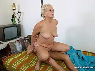 Aged fatty yells at her son but ends up bouncing on top of his meaty dick