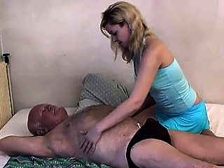 Nasty fat grandpa gets some tender back rubbing and shags his granddaughter