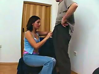 Daddy gets an awesome blowjob from his girl, licks her pussy and bangs her!