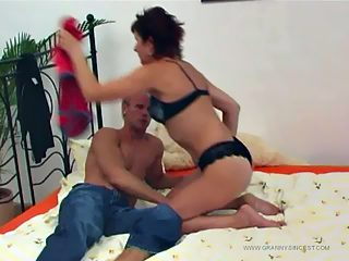 Luscious GILF gets her fuck hole worked out by her own sex hungry grandson