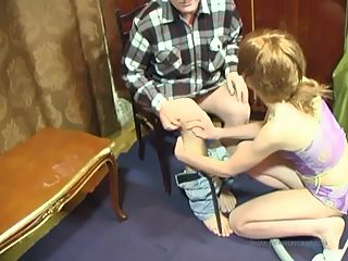 Delicate teenage lets her father's meaty rod all the way up her shaven slit
