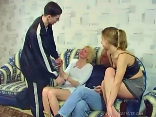 Dad and his son enjoying the tight holes of female members of their family