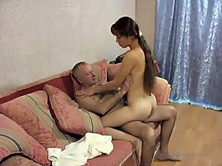 Sly girlie comforts her angry father by letting him bang her little pussy