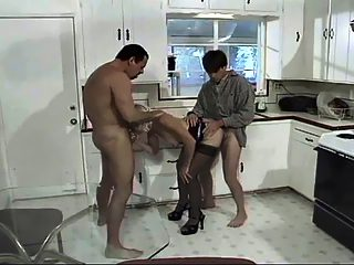 Horny hubby shares all of his wifey's holes with her own aged brother