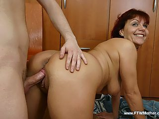 Raunchy full mommy blows her sons sturdy cock and takes it from behind