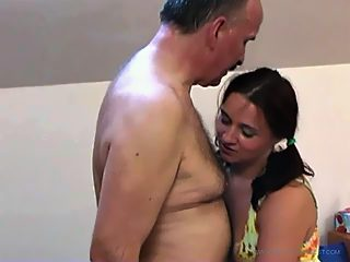 Fresh kitty moans and yells like crazy while getting tapped by her daddy