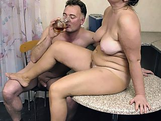 Father and granny have tea ending in dirty sex on the table