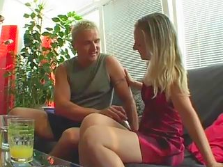 Dad spreads his vanilla skinned daughter's legs wide and stretches her slit