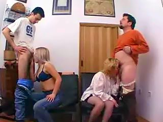 Teen boy, his sister and their parents throw a crazy foursome incest party