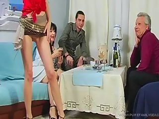 Teeny shakes her ass in front of her family and gets gangbanged by them!