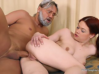 Gray haired kink sticks his fat dick into his gingerhead daughter's butt